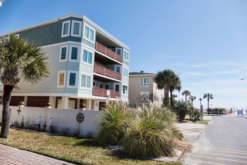 Sea Spray building, a Tybee Island vacation rental home, with view of road to beach